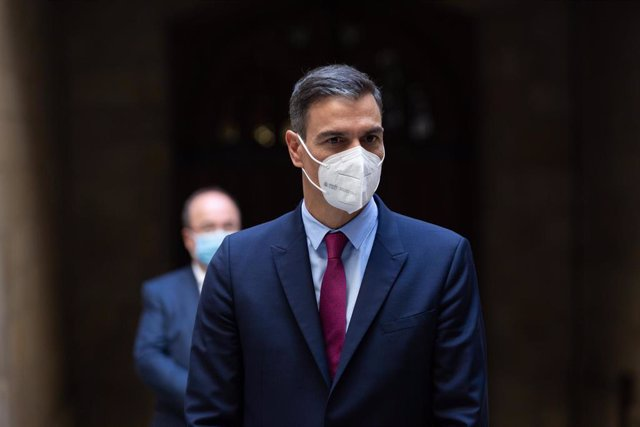 The President of the Government, Pedro Sánchez, upon his departure from the meeting with the President of the Generalitat at the Palau de la Generalitat and before the second meeting of the dialogue table between the central Government and the Catalan Government takes place, at 15 d