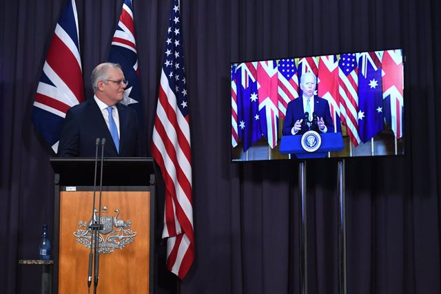 Australia's Prime Minister Scott Morrison at a joint press conference via AVL with Britain's Prime Minister Boris Johnson and US President Joe Biden from The Blue Room at Parliament House in Canberra, Thursday, September 16, 2021. (AAP Image/Mick Tsikas)