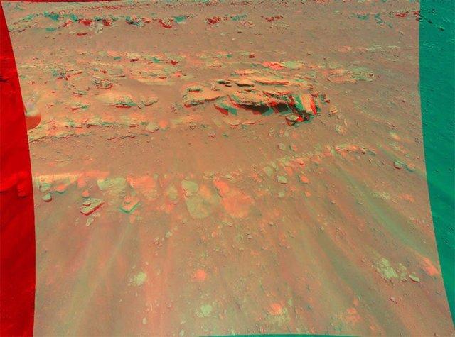 """Esta vista en 3D de un montículo de rocas llamado """"Faillefeu"""" fue creada a partir de datos recopilados por el helicóptero Ingenuity de la NASA durante su decimotercer vuelo en Marte el 4 de Septiembre de 2021."""
