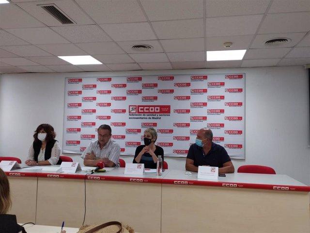 Rueda de prensa de la Federación de Sanidad y Sectores Sociosanitarios de CC.OO. Madrid.