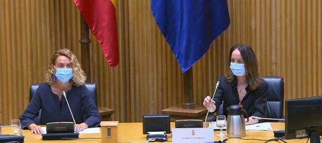 La presidenta del Congreso de los Diputados, Meritxell Batet, y la presidenta de CEAFA, Cheles Cantabrana.