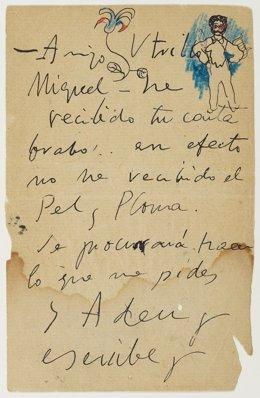Carta de l'artista Pablo Picasso al seu amic Miquel Utrillo