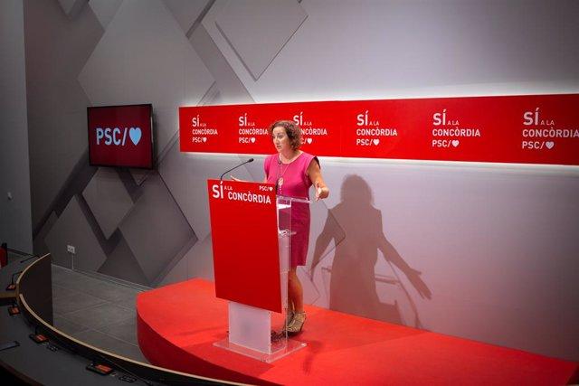 La portaveu del PSC al Parlament, Alícia Romero, en la conferència de premsa