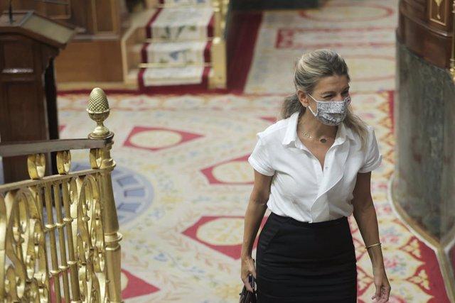 La vicepresidenta segunda del Gobierno y ministra de Trabajo y Economía Social, Yolanda Díaz, en una sesión de control al Gobierno en el Congreso de los Diputados, a 15 de septiembre de 2021, en Madrid, (España). En esta sesión, la primera del nuevo curso