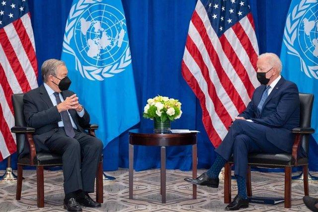 El secretario general de la ONU, António Guterres, y el presidente de Estados Unidos, Joe Biden, en una reunión en el marco de la 76 Asamblea General de Naciones Unidas.