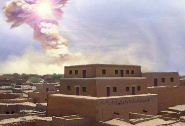 Recreación del impacto que acabó con Tall el-Hammam