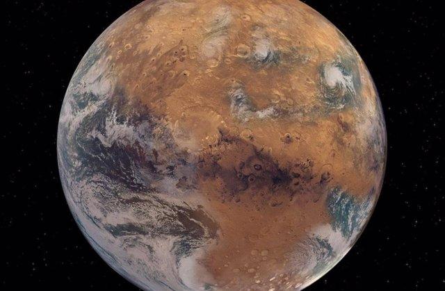 Interpretación artística de un Marte con agua superficial similar a la de la Tierra.