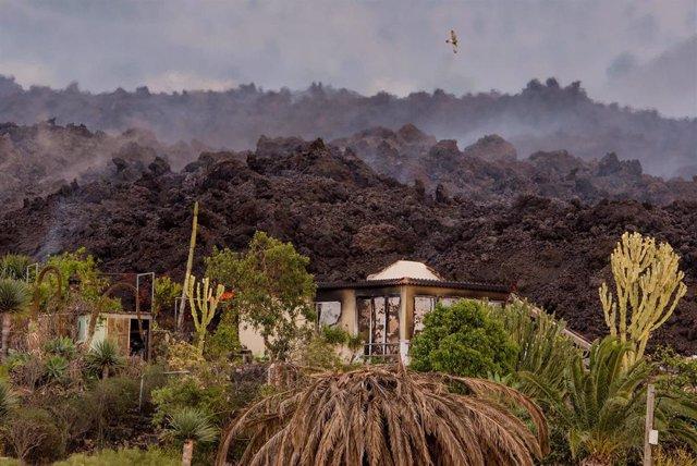 Una vivienda, apunto de ser arrasada por la lava en La Palma