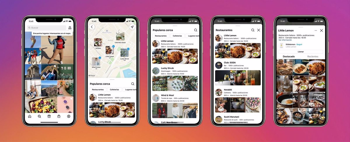 Instagram incorporates a map to locate popular restaurants and parks near the user