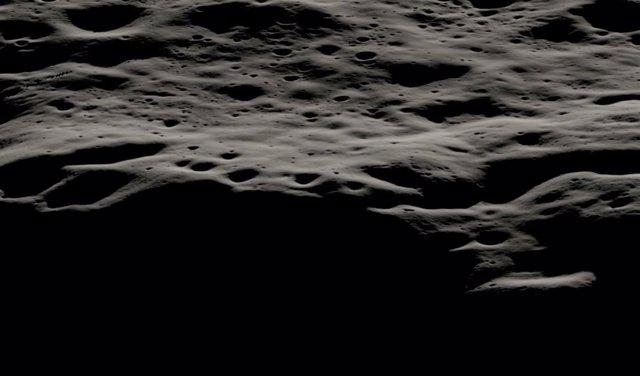 Esta visualización de datos muestra el área montañosa al oeste del cráter Nobile y los cráteres más pequeños que cubren su borde en el polo sur lunar.
