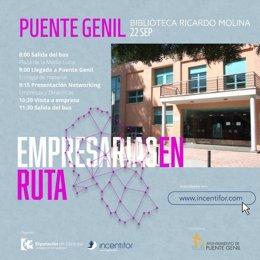 Cartel promocional de 'Empresarias en ruta' en Puente Genil.