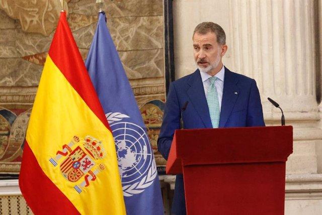 Archivo - El Rey Felipe VI durante el almuerzo al secretario general de la ONU, Antonio Guterres