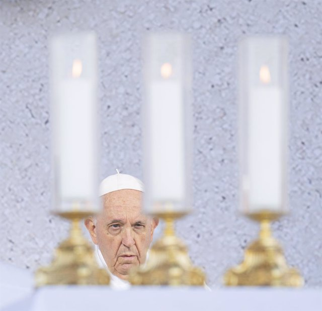 15 September 2021, Slovakia, Sastin: Pope Francis leads the Holy Mass in the open-air area at the National Shrine in Sastin, which is known as a pilgrimage site where people come to venerate the statue of the Our Lady of Sorrows. Photo: Michal Svìtok/TASR