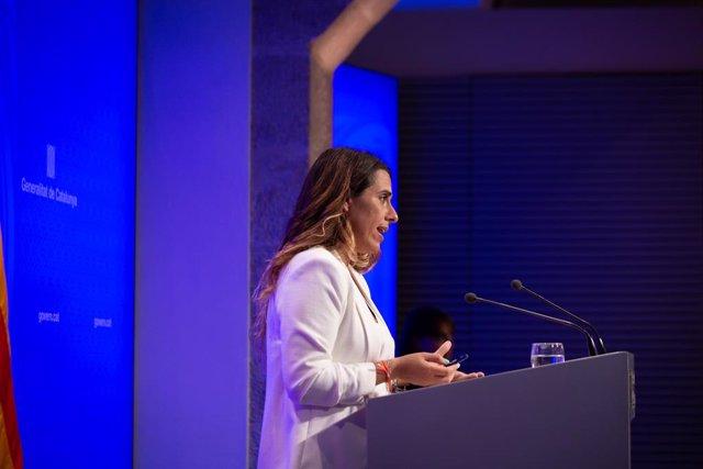 La portaveu del Govern de la Generalitat, Patrícia Plaja, en la roda de premsa