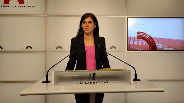 La secretària adjunta i portaveu d'ERC, Marta Vilalta, en la conferència de premsa