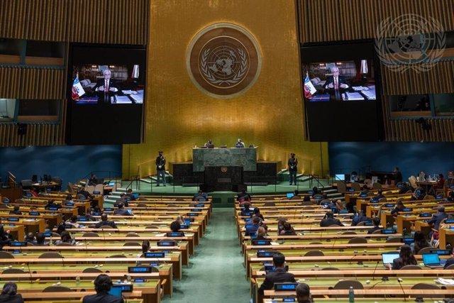 El presidente de Chile, Sebastián Piñera, durante su intervención telemática en la última sesión de la Asamblea General de Naciones Unidas