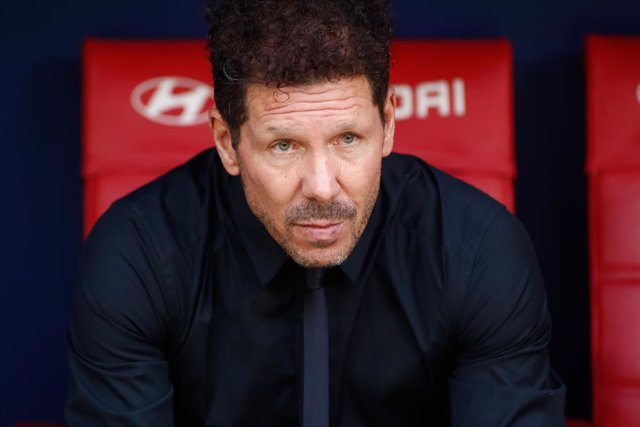 Diego Pablo Simeone, coach of Atletico de Madrid, looks on during the spanish league, La Liga Santander, football match played between Atletico de Madrid and Athletic Club at Wanda Metropolitano stadium on September 18, 2021, in Madrid, Spain.