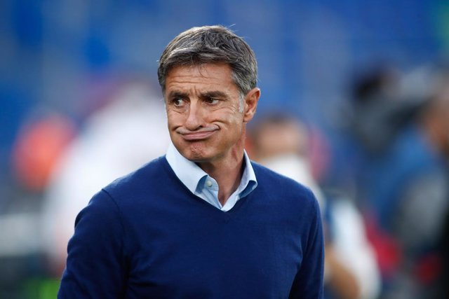 """Jose Miguel """"Michel"""" Gonzalez, coach of Getafe, looks on during the spanish league, La Liga Santander, football match played between Getafe CF and Elche CF at Coliseo Alfonso Perez stadium on September 13, 2021, in Getafe, Madrid, Spain."""