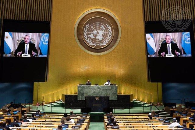 El presidente de Argentina, Alberto Fernández, durante su intervención telemática en la Asamblea General de Naciones Unidas