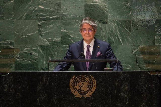 El presidente de Ecuador, Guillermo Lasso, habla ante la 76 Asamblea General de la ONU.