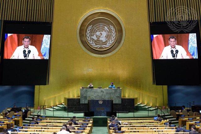 El presidente de Filipinas, Rodrigo Duterte, durante su intervención en la Asamblea General de Naciones Unidas