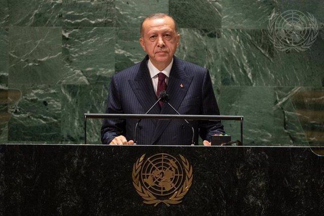 El presidente de Turquía, Recep Tayyip Erdogan, durante su intervención en la Asamblea General de Naciones Unidas
