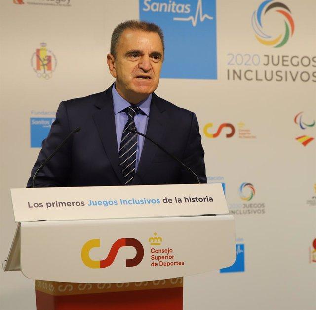 El presidente del Consejo Superior de Deportes (CSD), José Manuel Franco, en la presentación de la I edición de los Juegos Inclusivos.