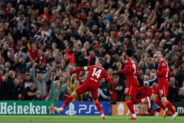 Jordan Henderson (Liverpool FC) celebrates the victory goal during the UEFA Champions League football match Group B - Liverpool FC vs AC Milan on September 15, 2021 at the Anfield in Liverpool, England - Photo Francesco Scaccianoce / LiveMedia / DPPI