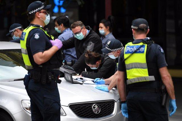 Imagen de archivo de una protesta contra el confinamiento en Australia.