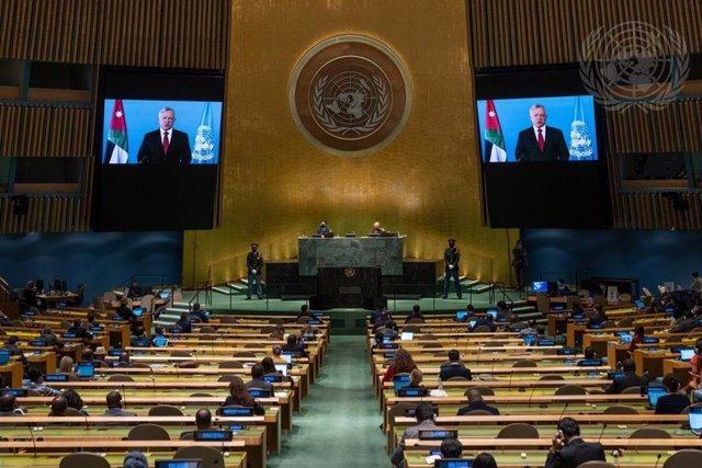 El rey Abdalá II de Jordania durante su última intervención en la Asamblea General de Naciones Unidas.