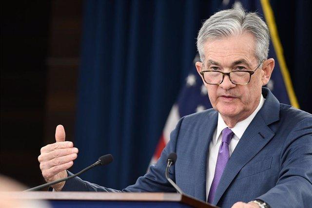 Archivo - El presidente de la Fed, Jerome Powell, durante una rueda de prensa el 16/06/2019.