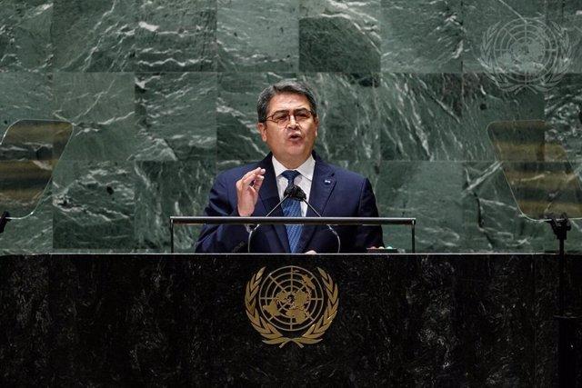El presidente de Honduras, Juan Orlando Hernández, durante su intervención en la Asamblea General de Naciones Unidas