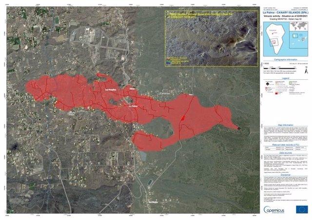 La zona afectada per l'erupció del volcà de La Palma