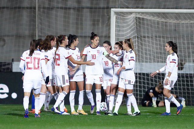 Archivo - Jennifer Hermoso of Spain celebrates a goal during UEFA Women Eurocup football match played between Spain and Moldova at Ciudad del Futbol on november 27, 2020, in Las Rozas, Madrid, Spain