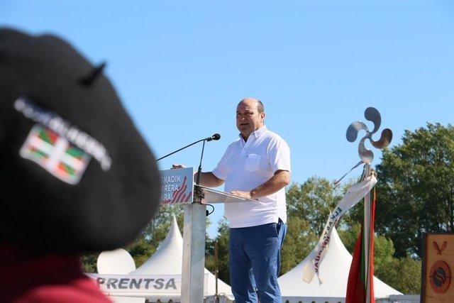 El presidente del EBB del PNV, Andoni Ortuzar, en el Alderdi Eguna de 2019