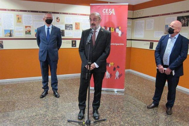 El presidente del CES, Antón Costas, el de Aragón, Javier Lambán, y el del CESA, José Manuel Lasierra.