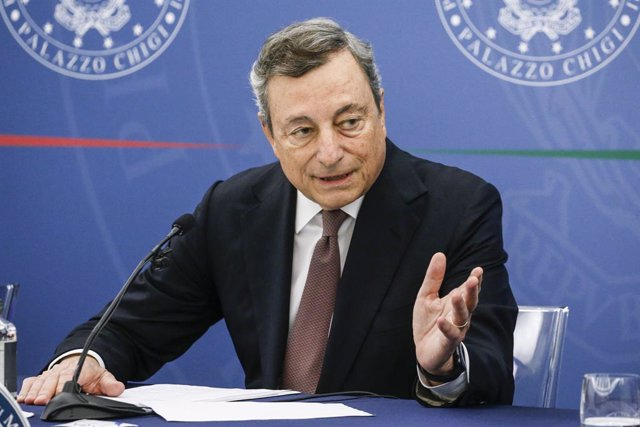 02 September 2021, Italy, Rome: Italian Prime Minister Mario Draghi speaks during a press conference following a cabinet meeting about the use of Green Pass against the spread of Coronavirus (Covid-19). Photo: Fabio Frustaci/LaPresse via ZUMA Press/dpa