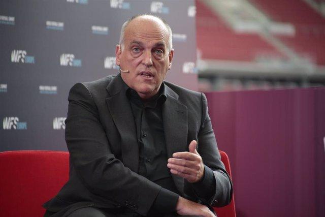 Javier Tebas en el congreso World Football Summit, celebrado en el Wanda Metrpolitano de Madrid