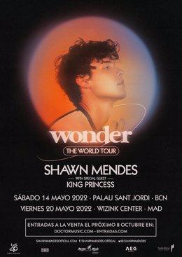 Cartell dels concerts de Shawn Mendes a Barcelona i Madrid al maig de 2022
