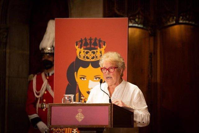 L'activista Custodia Moreno participa en la lectura del pregó de la Mercè 2021, a l'Ajuntament de Barcelona, a 23 de setembre de 2021, a Barcelona, Catalunya (Espanya). La lectura del pregó per a la inauguració de les festes de la patrona de Barc