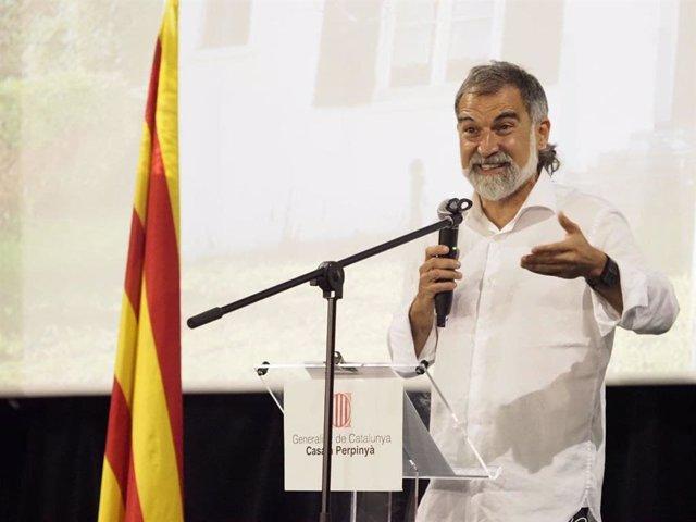 El president d'Òmnium, Jordi Cuixart, en un acte amb motiu de la Diada a Prats de Molló (França).