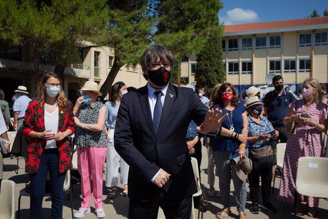 Archivo - Arxivo - L'expresident Carles Puigdemont; assisteix a l'acte de celebració dels 60 anys d'Òmnium Cultural, a 16 de juliol de 2021, en Elna, (França).