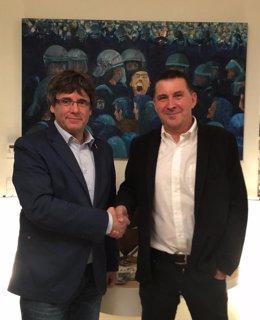 Archivo - Arxiu - Carles Puigdemont i Arnaldo Otegi, reunió en Waterloo