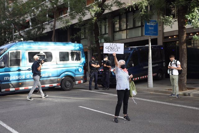 Concentración convocada por la ANC para protestar contra la detención del expte.Carles Puigdemont