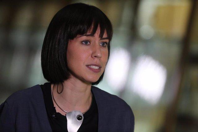 La ministra de Ciencia e Innovación, Diana Morant, ofrece declaraciones a los medios de comunicación tras reunirse para conocer los últimos detalles del dispositivo científico en torno a la erupción en La Palma, a 20 de septiembre de 2021, en Madrid, (Esp