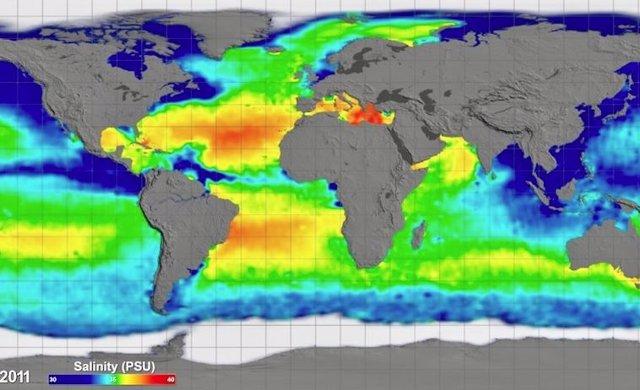 Los investigadores encontraron que los cambios de salinidad como resultado de los cambios en el ciclo del agua conducen a un menor calentamiento de la superficie.