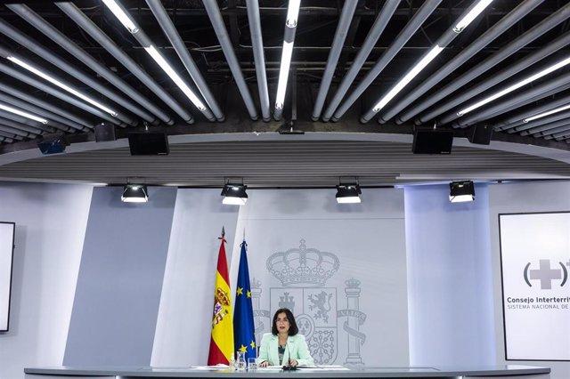 La ministra de Sanidad, Carolina Darias, durante la rueda de prensa posterior al Consejo Interterritorial del Sistema Nacional de Salud, en La Moncloa, a 8 de septiembre de 2021, en Madrid (España).