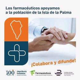 Cartel de apoyo de los farmacéuticos a los damnificados por el volcán de La Palma.
