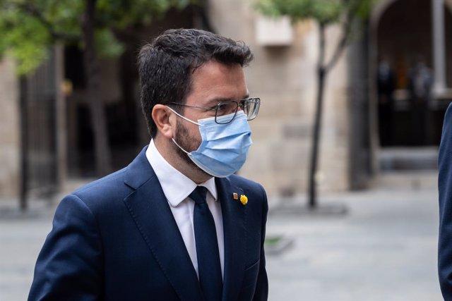El president de la Generalitat de Catalunya, Pere Aragonès, acudeix a la reunió d'avui amb tots els consellers
