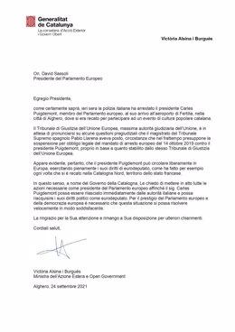 Carta de la consellera de Acción Exterior y Gobierno Abierto de la Generalitat, Victòria Alsina.